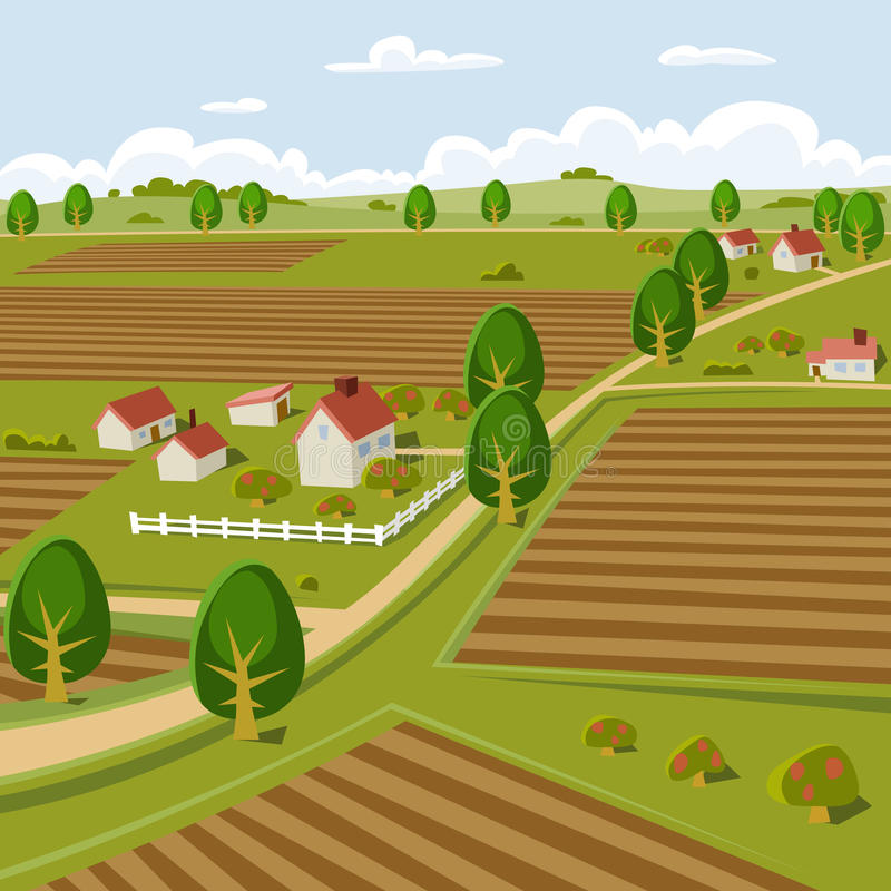 Download Farmland stock vector. Illustration of painting, trees - 15579765