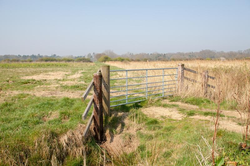 Farmland gate. Country walk along rural Norfolk Broads farm land stock images
