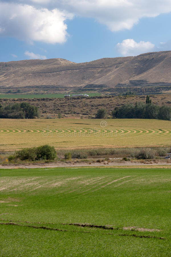 Farmland with irrigated fields and crops. With a center pivot irrigated field at the foot of a rolling mountain range showing the curved planting system stock photos