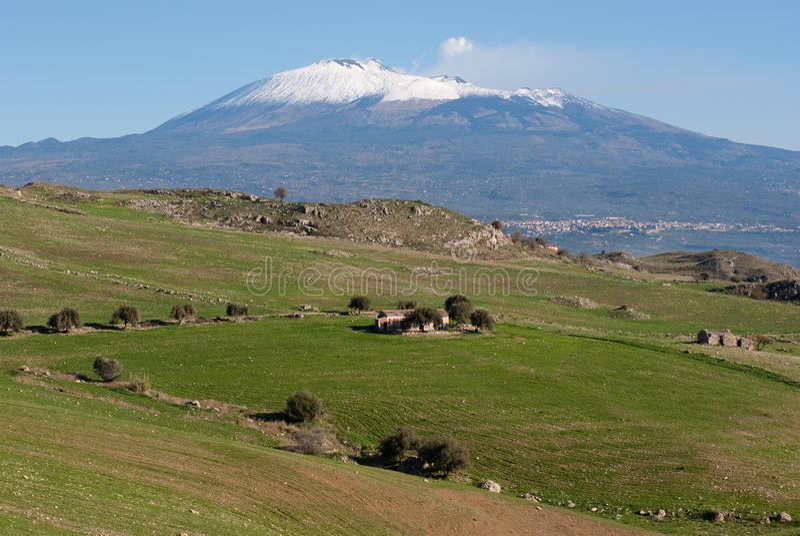 Download Farmland Under Etna Royalty Free Stock Image - Image: 12211646