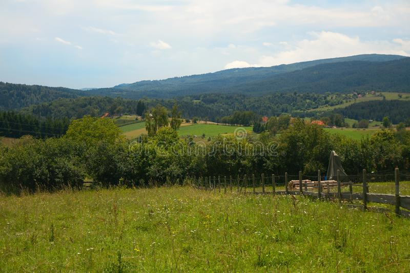 Farmlands in Rudno Village, Serbia royalty free stock images