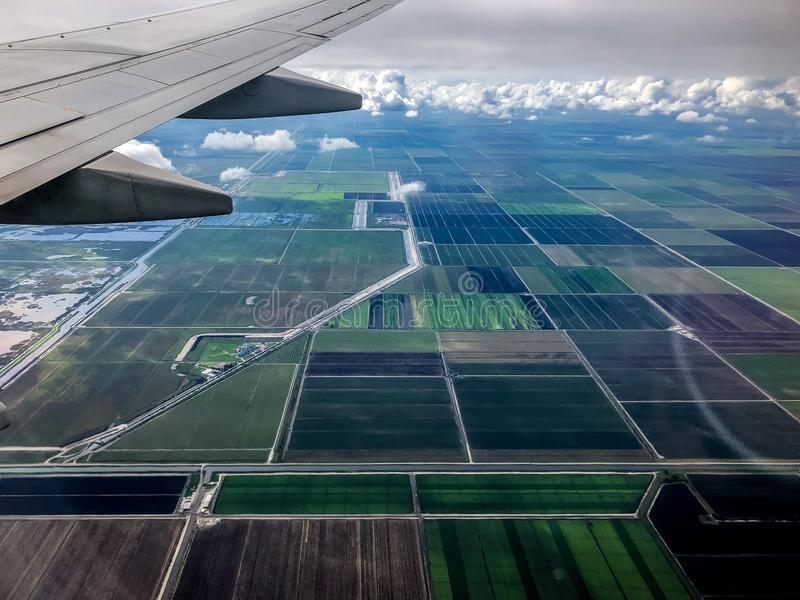 Farmlands in south Florida. Aerial view of farm land in South Florida royalty free stock images