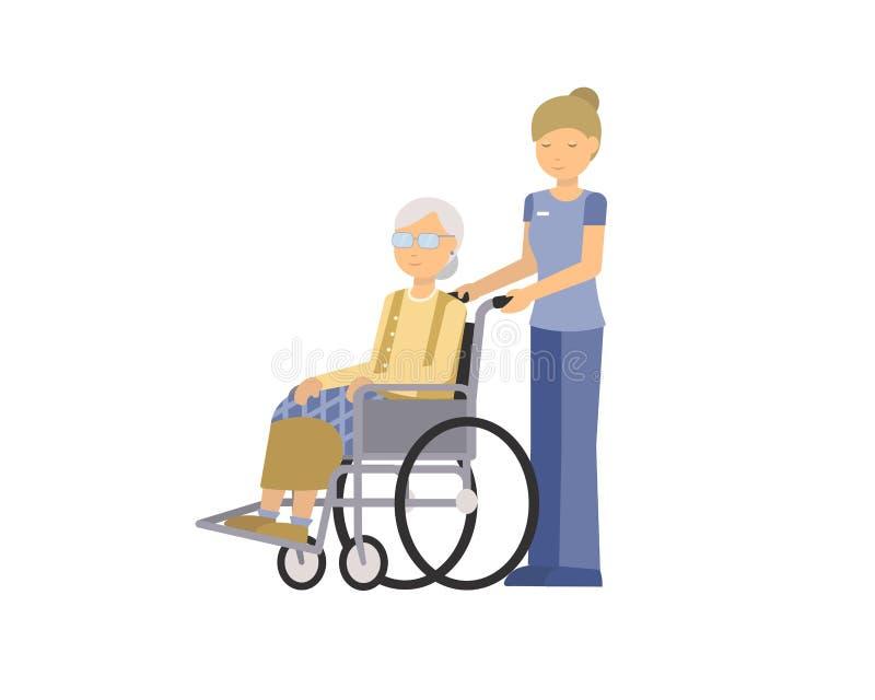 Farmodern är den rörelsehindrade och kvinnliga vårdaren som isoleras på bakgrund royaltyfri illustrationer
