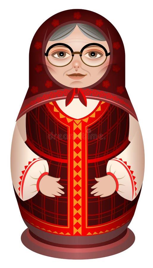 Farmodern i medborgare beklär ryssträdockamatryoshka stock illustrationer