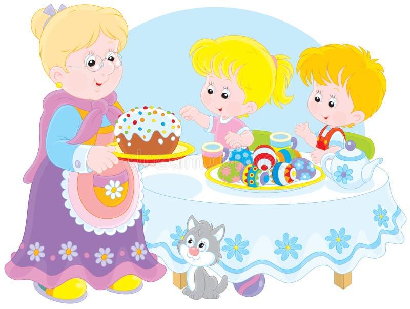 Farmodern och barnbarn firar påsk stock illustrationer