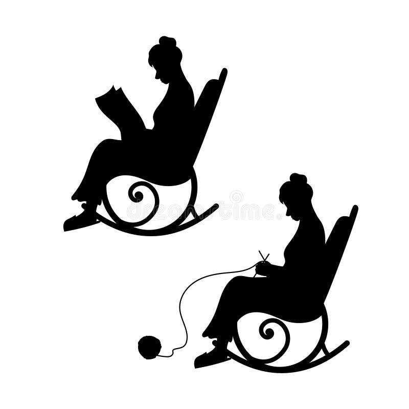 Farmodern sticker i en stol, mormor läser tidningen royaltyfri illustrationer