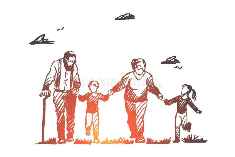 Farmor farfar, barnbarn, familj, utvecklingsbegrepp Hand dragen isolerad vektor stock illustrationer