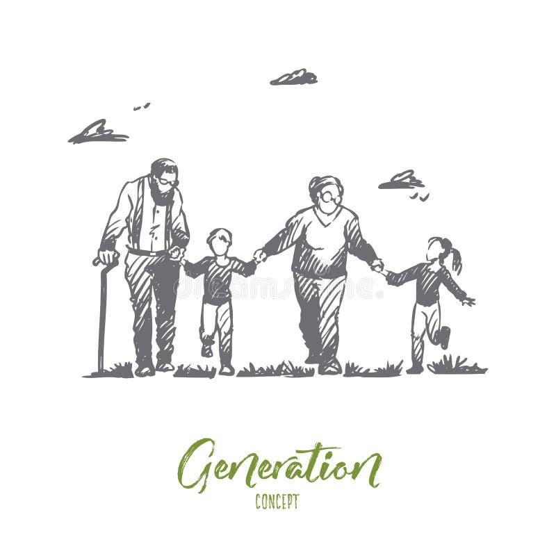 Farmor farfar, barnbarn, familj, utvecklingsbegrepp Hand dragen isolerad vektor royaltyfri illustrationer