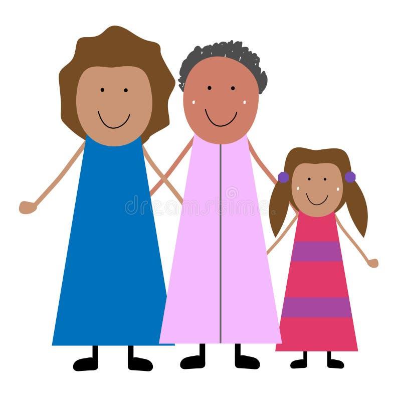 Farmor med dottern och sondottern stock illustrationer