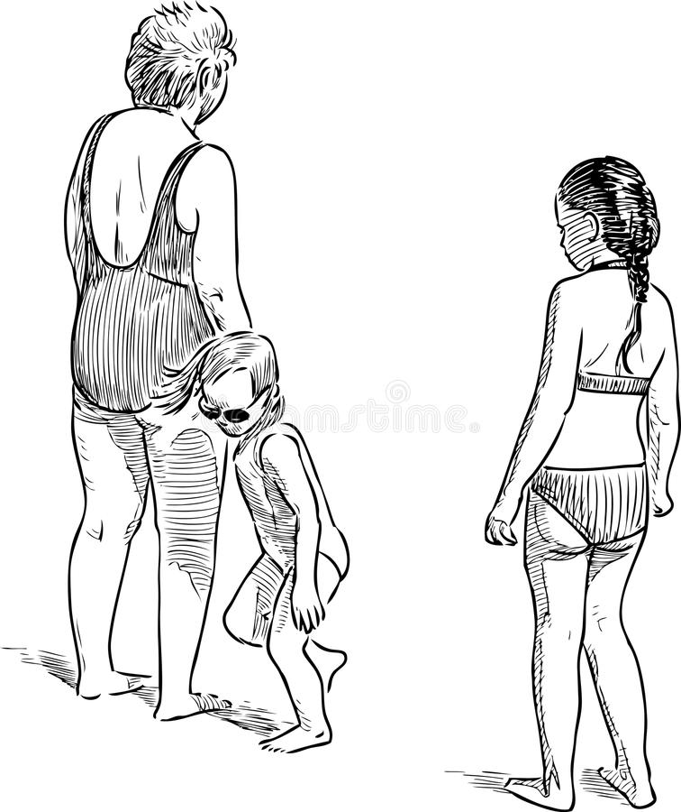 Farmor med hennes sondöttrar på stranden royaltyfri illustrationer