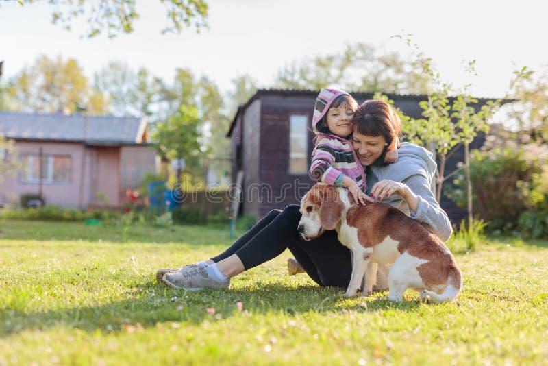 Farmor med sondottern och hunden som spelar p? den solbada gr?smattan arkivfoto