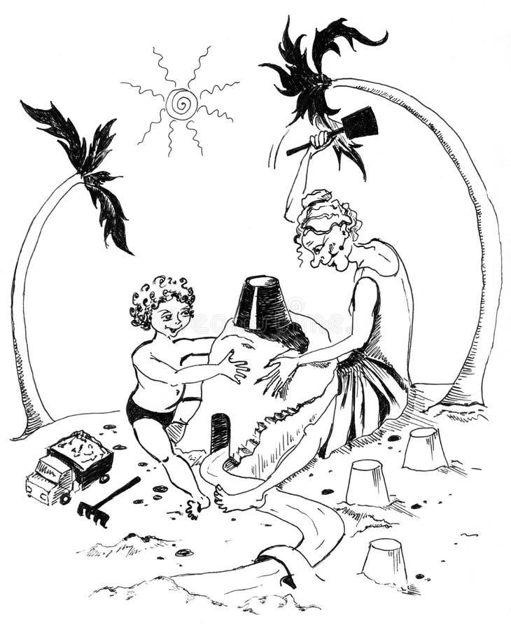 Farmor med sonsonen vektor illustrationer