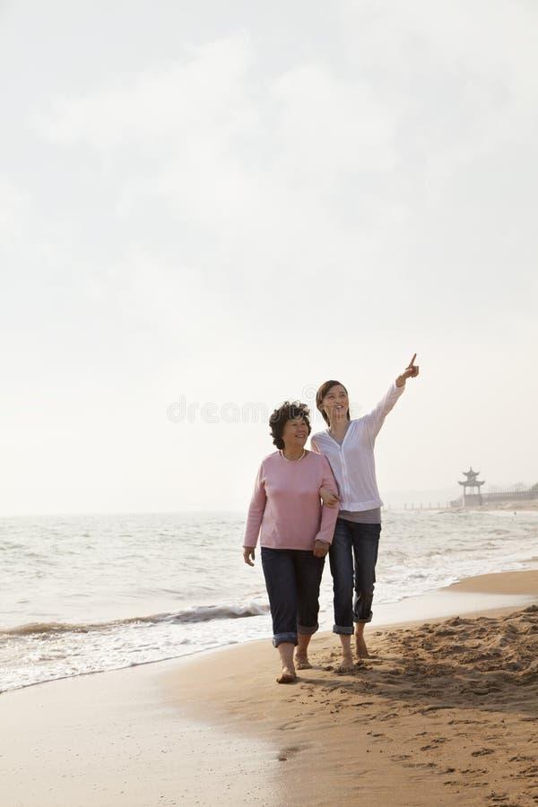 Farmor och sondotter som tar en gå vid stranden fotografering för bildbyråer