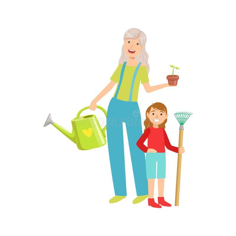 Farmor och sondotter som tillsammans arbeta i trädgården, del av för Tid för morförälderbarnbarnbortgång illustrationer uppsättni stock illustrationer