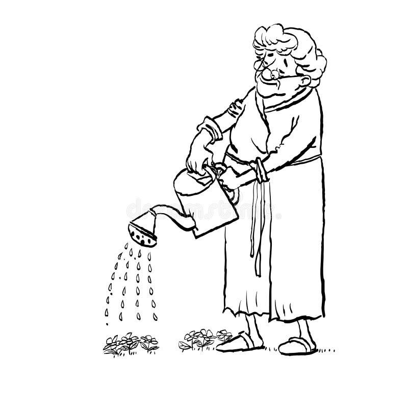 Farmor som bevattnar blommor på en blomsterrabatt i en trädgård Aktiv livsl?ngd vektor illustrationer