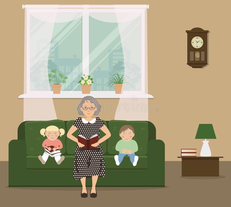 Farmor som läser en bok till barnen stock illustrationer
