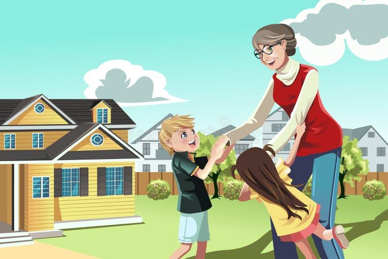 Farmor som leker med barnbarn royaltyfri illustrationer