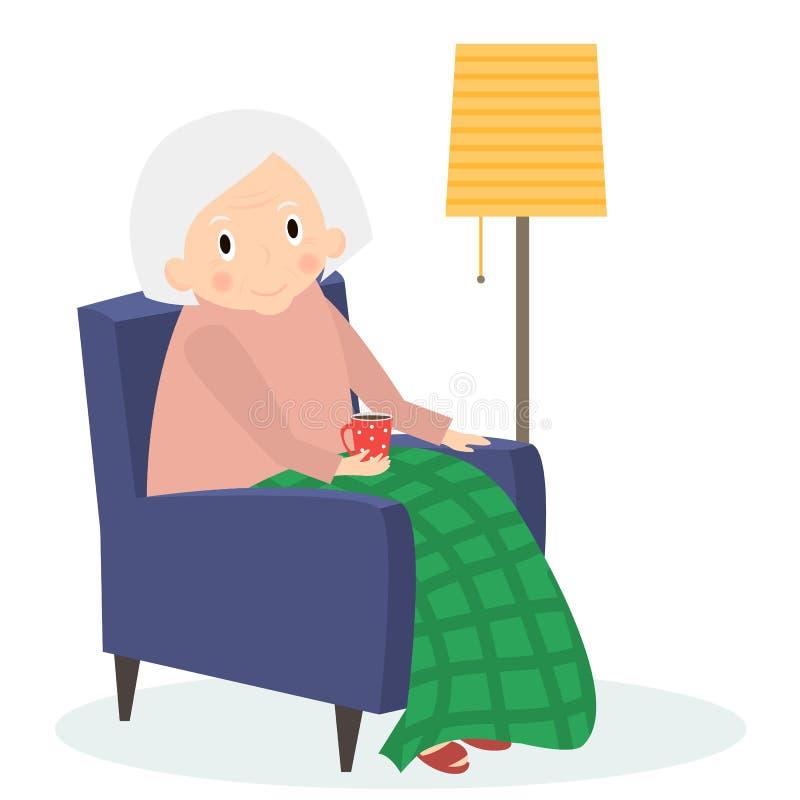 Farmorsammanträde i fåtölj Fritid för gammal kvinna Te för mormorläsningdrink Gullig hög kvinna hemma också vektor för coreldrawi royaltyfri illustrationer