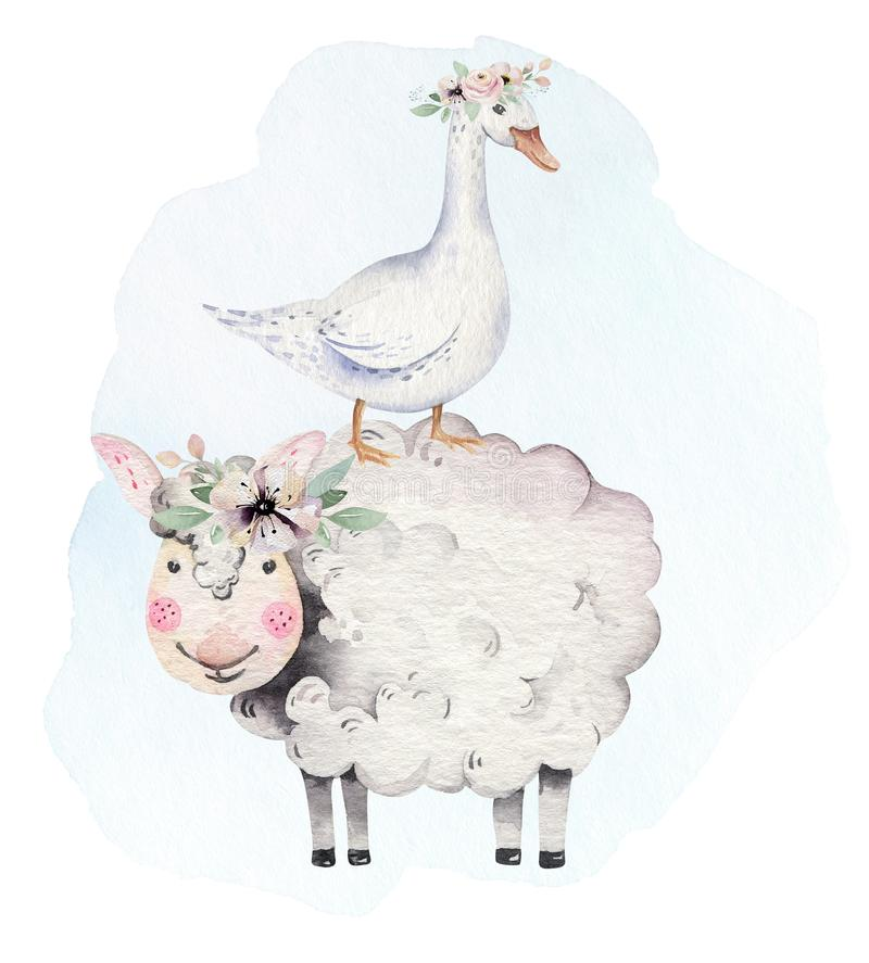 Farms animal set. Cute domestic pets watercolor illustration. horse and goose. pig design with goat. rooster chicken and stock illustration