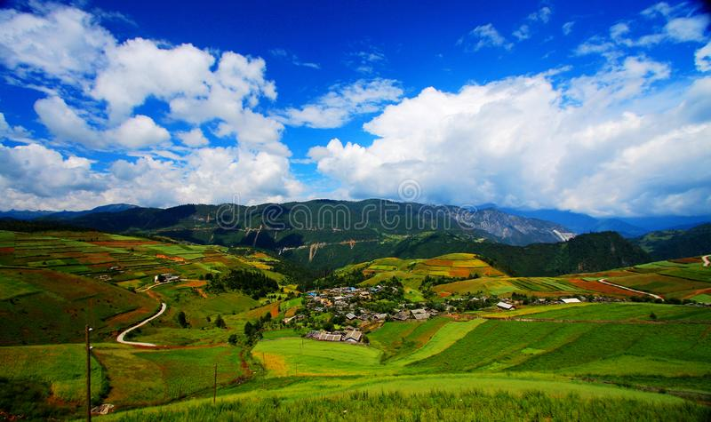 Farms on the Qinghai Tibet Plateau. The farms on the Qinghai Tibet Plateau , located in Lijiang city , Yunnan province , Chinan royalty free stock photos