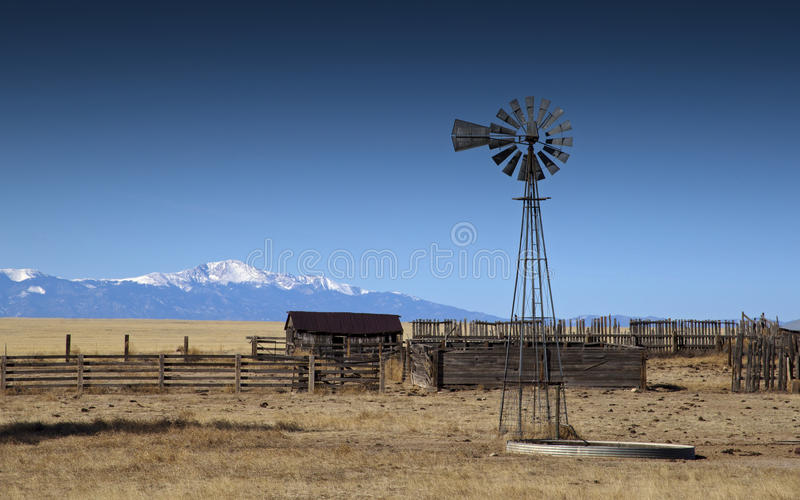 Windmill on an Old Farm royalty free stock photo