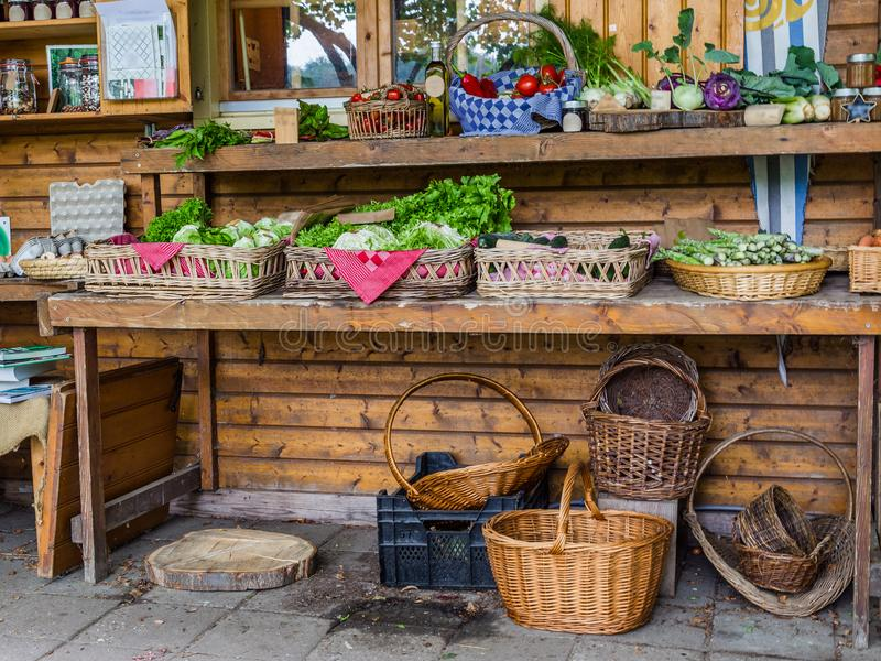 Farmshop with local products. Vegetable garden shop at a local community garden in the city stock image