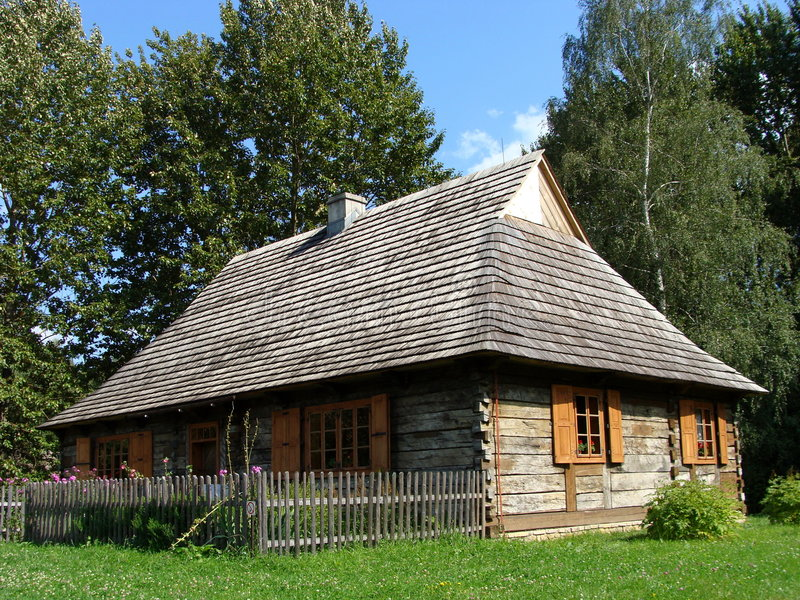 Farmstead. Workers farmstead cottage - in open-air ethnographic museum in Chorzow, Silesia (Poland stock image