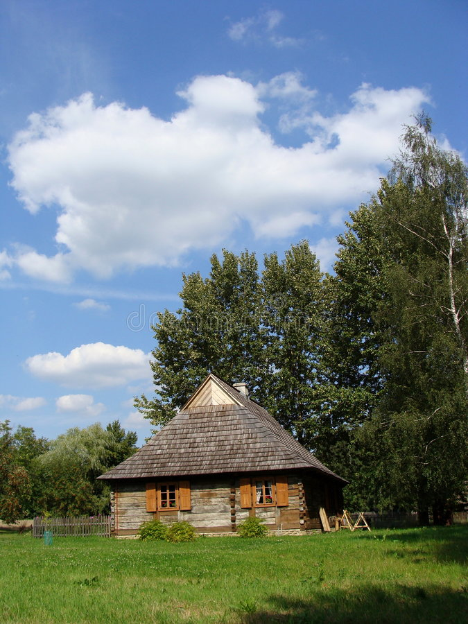 Farmstead. Workers farmstead cottage - in open-air ethnographic museum in Chorzow, Silesia (Poland stock photos
