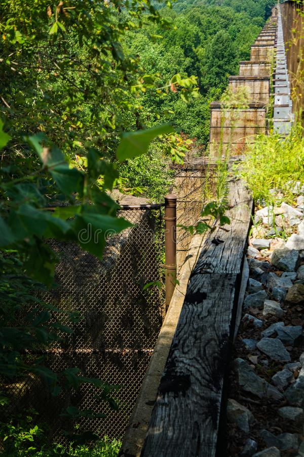 View of the Old Pillars of the Original Railroad Bridge royalty free stock images