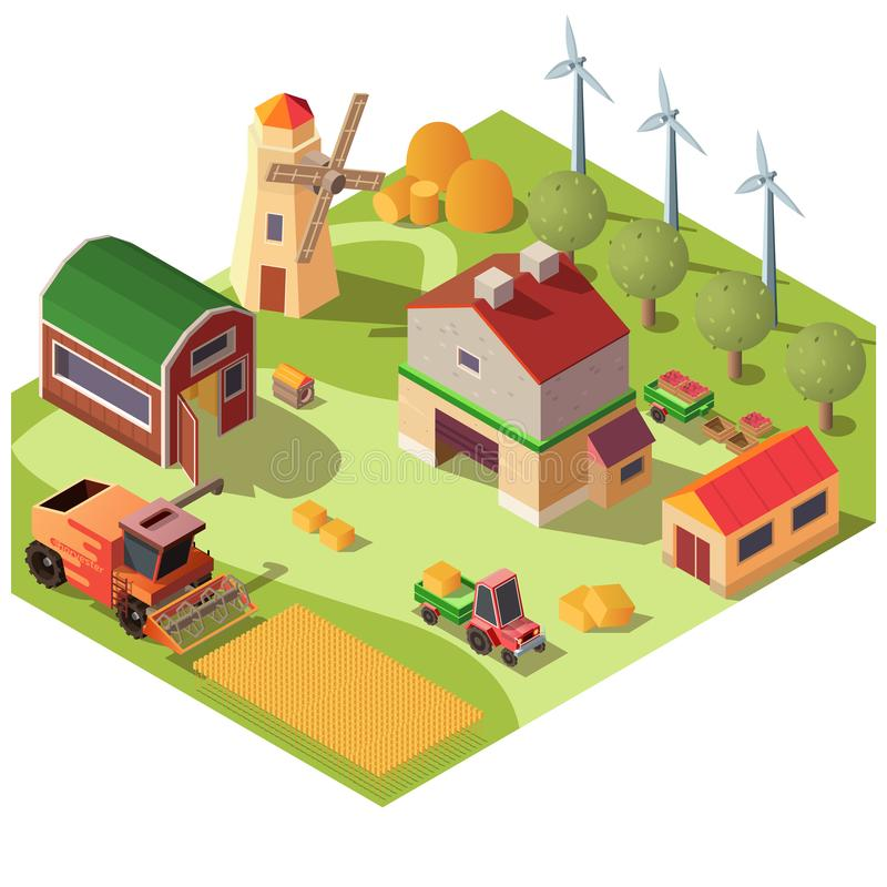 Farmyard with buildings and machines vector royalty free illustration