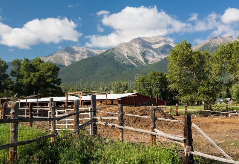 Farmyard and stable by Mt Princeton CO. Farmyard and stables behind fencing with Mount Princeton near Buena Vista Colorado royalty free stock photo