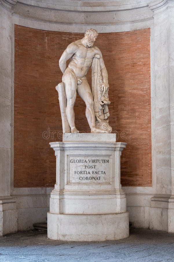 Farnese Hercules statue in the Royal Palace, Caserta, Italy. stock photography