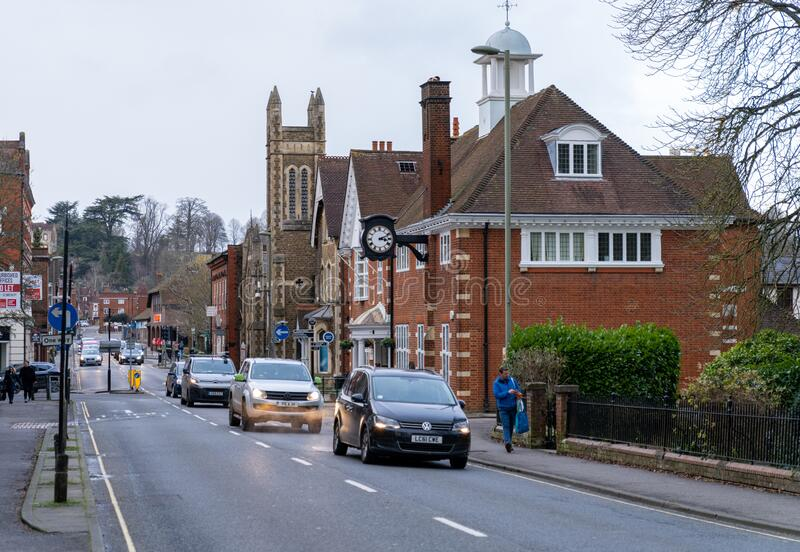 Farnham Town Centre with Buildings and Traffic in Background. England Architecture. United Kingdom royalty free stock photography