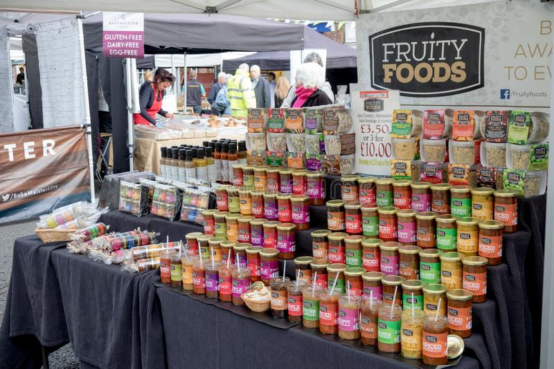 Goods for sale at Farnham Food Festival. Farnham, United Kingdom, 30th October 2017:-Fruity Foods jams for sale at Farnham International Food Festival stock photo