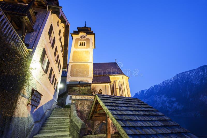 Farny kościół w Hallstatt obrazy royalty free
