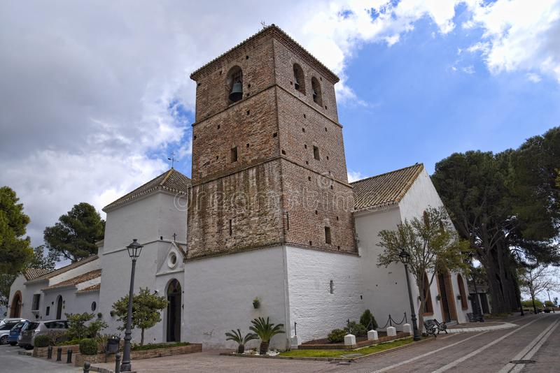 Farny kościół w Mijas w górach nad Costa Del Zol w Hiszpania obrazy stock