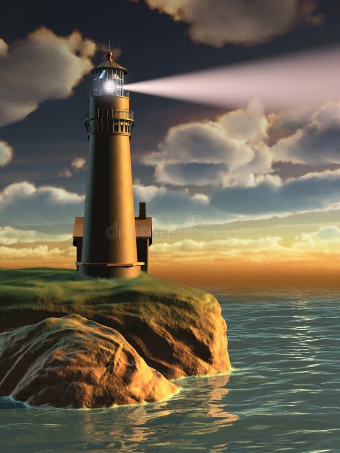 Faro al tramonto illustrazione di stock