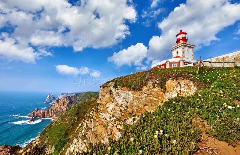 Faro a Cabo da Roca più occidentale immagine stock