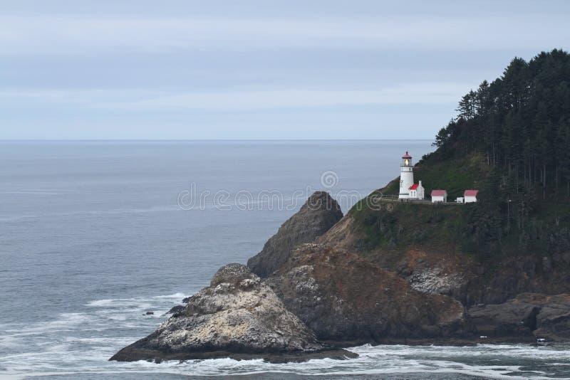 Faro capo di Heceta sul litorale dell'Oregon fotografia stock libera da diritti