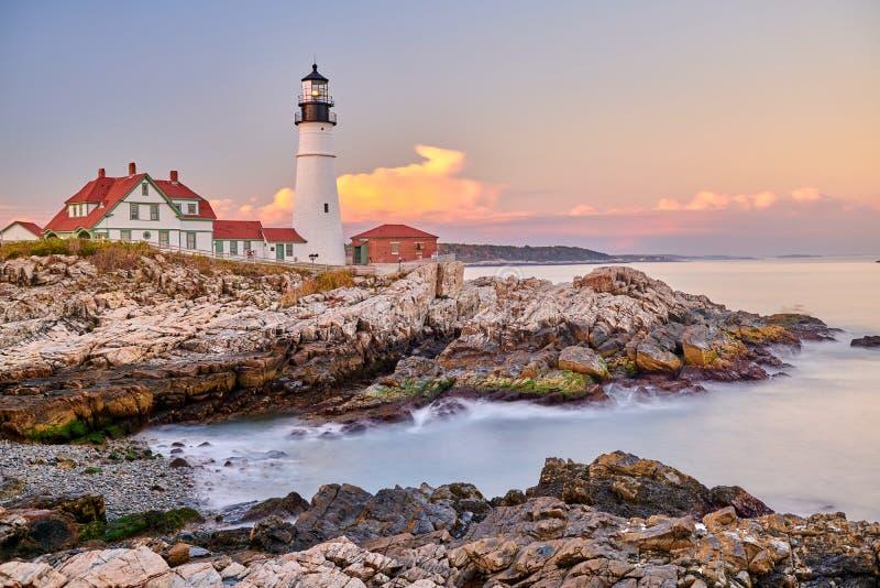 Faro capo di Portland, Maine, S fotografia stock libera da diritti