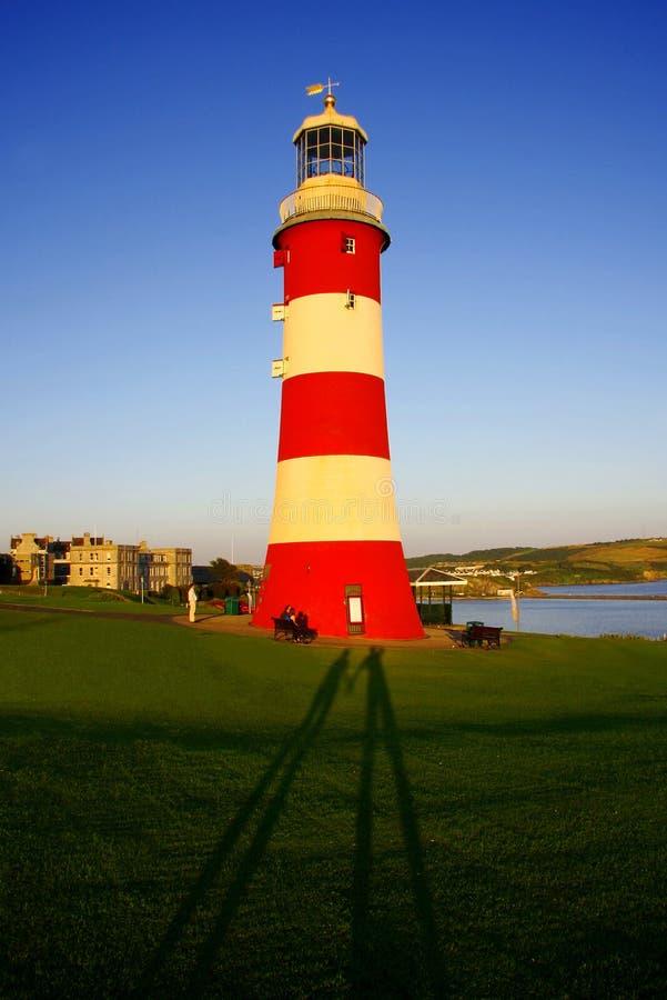 Faro con gli amanti di af due delle ombre, Plymouth fotografie stock libere da diritti