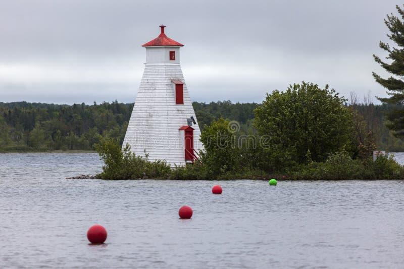 Faro dal lago Huron in Ontario immagine stock libera da diritti