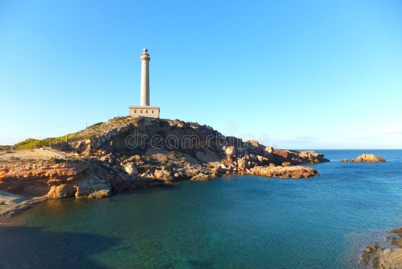 Faro de Cabo de Palos/Lighthouse of Cabo de Palos royalty free stock photo
