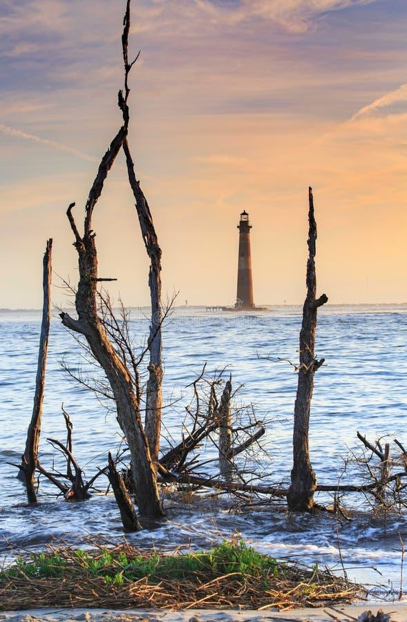 Faro de Charleston South Carolina Morris Island foto de archivo libre de regalías