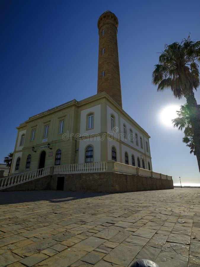 Faro de Chipiona, lightouse på Chipiona, Cadiz, Andalucia, Spanien royaltyfria foton