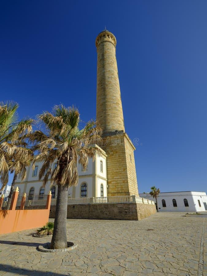 Faro de Chipiona, lightouse p? Chipiona, Cadiz, Andalucia, Spanien royaltyfria bilder