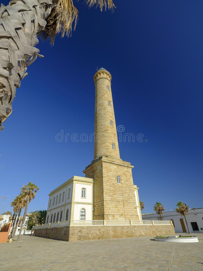Faro de Chipiona, lightouse p? Chipiona, Cadiz, Andalucia, Spanien arkivfoton