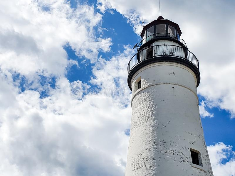Faro de Gratiot del fuerte en Huron portuario, Michigan imagen de archivo libre de regalías