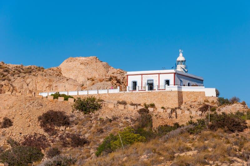 Faro de l 'Albir, en L 'Alfàs del Pi, Altea, una ciudad en la costa mediterránea de la costa blanca, un destino turístico en Esp imagen de archivo libre de regalías