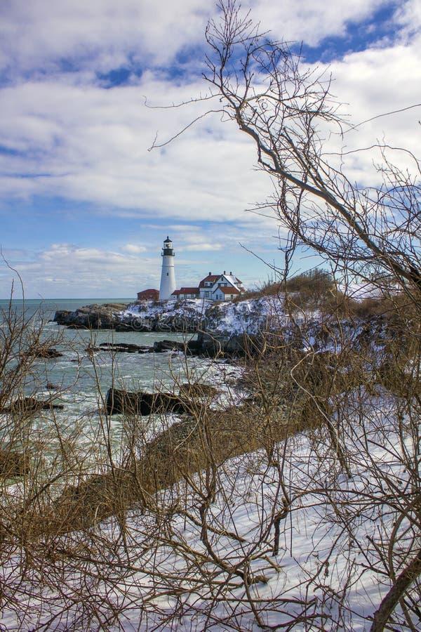 Faro de la cabeza de Portland, cabo Elizabeth, Maine imagenes de archivo